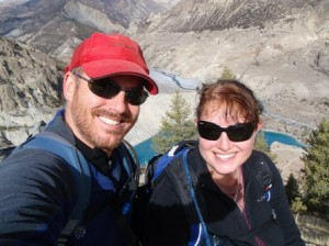 Us on the acclimatisation day, high above the glacial lake, high above Manang, high above sea level (is everything high around here?)