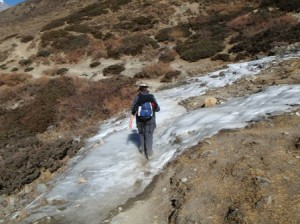 Tracy has to tread carefully as she crosses yet another frozen waterfall