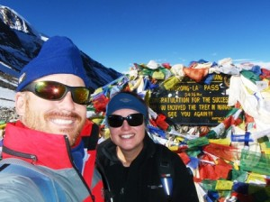 Thorang La (5416m ASL) and it's smiles all round.  All we needed was champagne (or another drink that wouldn't freeze!)