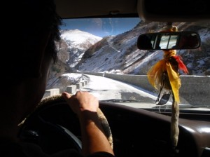 The view of the icy roads heading up the Tibetan mountains