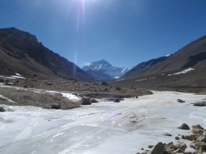 Everest in the distance... The sunshine belies the fact it's still bloody cold!