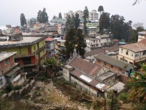 Darjeeling perched on a hillside.