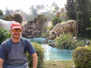 Animal display at the Jain Temple - as close as we got to a tiger on this trip.