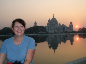 Victoria Memorial at sunset.