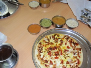 Uttapam - typical Rama's breakfast, yum.