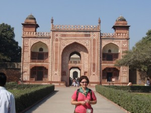 Kathy outside the Baby Taj