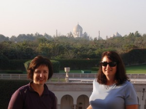 A glass of wine and a view of the Taj - doesn't get much better