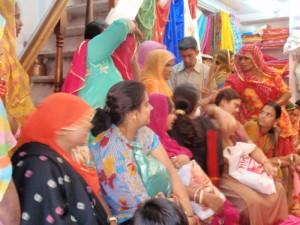 The sari shops were doing a roaring trade.