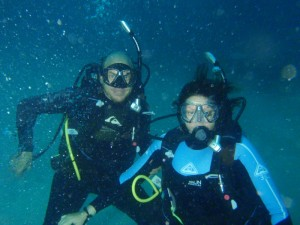 Just to prove we are both ghere and scuba diving :-)