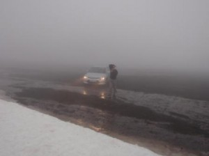 Poor Scott - finding the car was even difficult in this weather