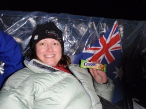 Me all rugged up with my Bulgarian muesli bars for dinner - thanks Jane