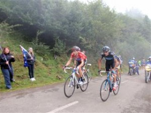 Bradley Wiggins at the front
