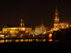 Dresden skyline at night